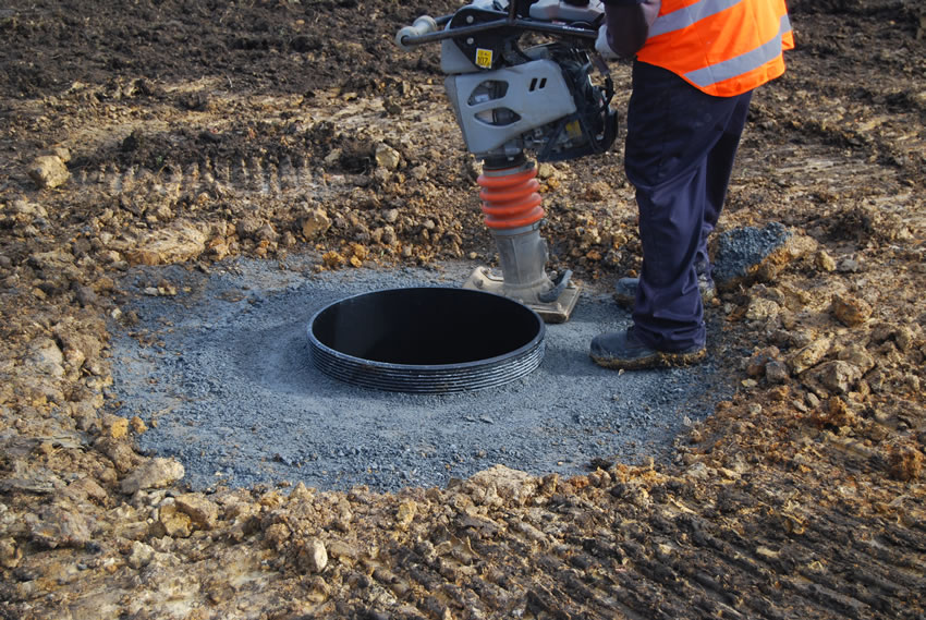 Plastic Manhole Chamber Installation - Finishing off Backfill Compacting