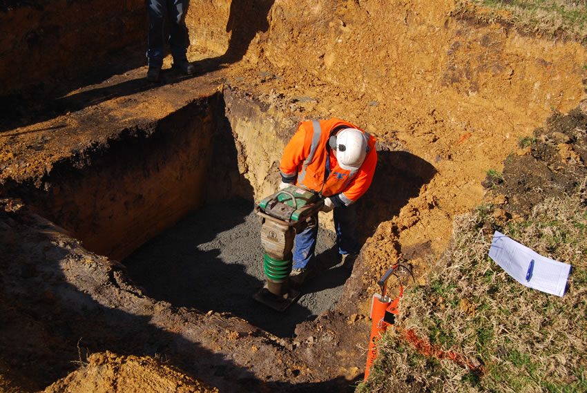 Plastic Manhole Chamber Installation - Compacting Bedding
