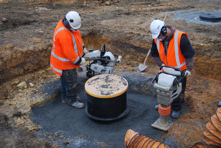 Plastic Manhole Chamber Installation - DN625 Backfilling Around Chamber