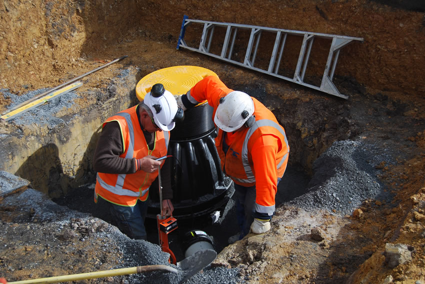 Plastic Manhole Chamber Installation - Measuring Backfill Compaction